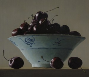Majolica Bowl with Cherries, oil on panel